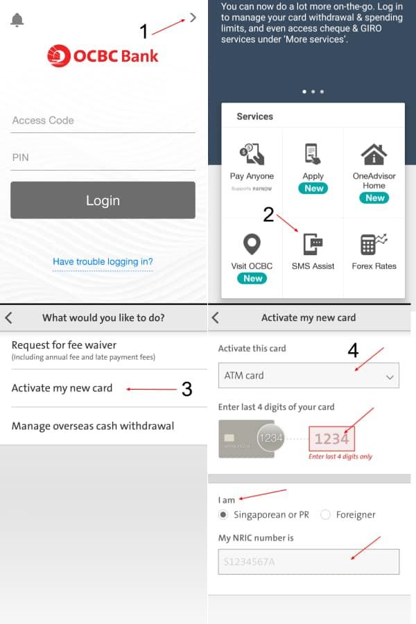 Activate OCBC ATM Card ViaMobile App